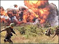 Napalm attack during Vietnam war