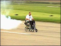Giuseppe Cannella speeds away on his jet-propelled wheelchair