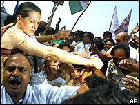 Sonia Gandhi and supporters