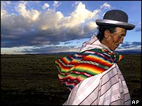 Bolivian Indigenous Angelita Mamani Castro walks to vote  in a national referendum on the country's gas reserves