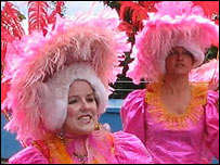 People in pink costumes