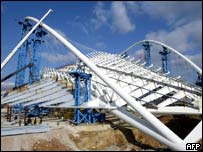 The unfinished roof that will cover the velodrome for the 2004 Athens Olympics