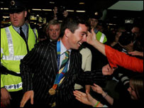 Cian O'Connor is greeted at Dublin airport