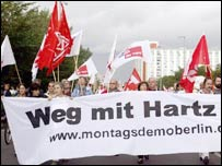 Protestors march in Berlin against government plans to reform the welfare system and labour market
