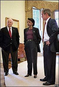 Dick Cheney, Condoleezza Rice y George W. Bush