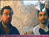 The two hostages shown on al-Jazeera TV