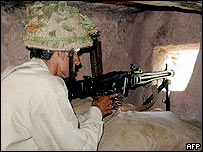 A Pakistani soldier at a bunker on the Line of Control