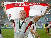Lawrence Dallaglio celebrates England's historic World Cup triumph in Australia