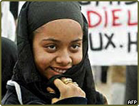 Muslim girl wearing headscarf