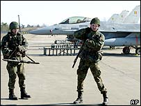 Lithuanian troops guard Belgian aircraft in Lithuania