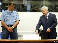 Former Yugoslav President Slobodan Milosevic in court at The Hague