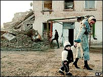 Residents in Grozny, Chechnya