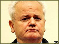 Former Yugoslav President Slobodan Milosevic in the court at The Hague