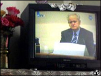 Slobodan Milosevic's trial is broadcast on television