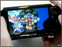 A cartoon game is displayed on Sony Computer Entertainment's PlayStation Portable (PSP) at a press preview in Tokyo