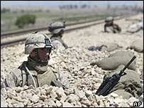 US Marines stand guard at a railway on the outskirts of Fallujah