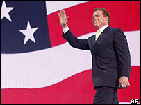 California Governor Arnold Schwarzenegger after speaking to delegates