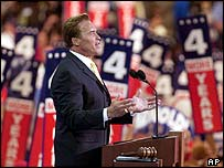 California Governor Arnold Schwarzenegger addresses delegates at the Republican National Convention