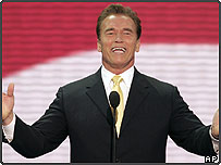 California Gov. Arnold Schwarzenegger addresses the delegates at the Republican National Convention