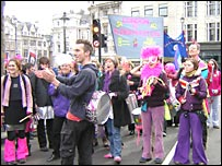 Crowds in Trafalgar Square for the London to Aldermaston Easter march