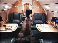 Inside Gulfstream jet