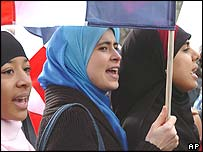 Headscarf protest in France. Archive picture