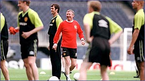 Ferguson gets involved in the training
