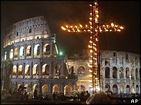 A large cross at the Coliseum during the Way of the Cross procession
