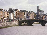 View along the Liffey river, Dublin
