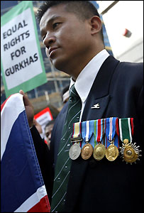 A Gurkha who took part in the protest in Liverpool