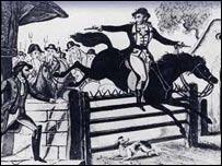 Ilustraci�n de Dick Turpin saltando con un caballo.