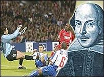 Partido de f�tbol (Foto: AP) e imagen de William Shakespeare.