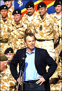 Tony Blair in Iraq in January