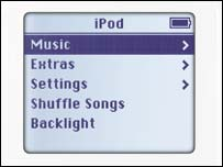 Close-up of iPod menu, Apple