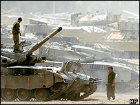 Israeli tanks on the border with Gaza
