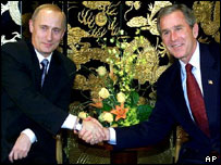 Bush and Putin shaking hands