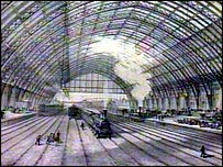 Drawing of St Pancras' train shed soon after it opened