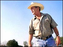 President Bush at his ranch in Crawford, Texas