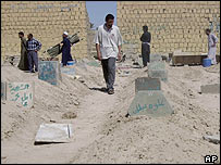 Iraqis walk through a football field turned into a makeshift cemetery in Falluja
