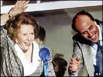 Margaret Thatcher and Norman Tebbit after the 1987 election victory