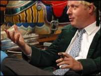 Photo of Boris Johnson MP holding cigar