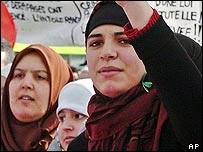 Women protesting against the headscarf ban in Paris