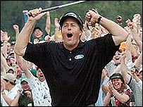 Phil Mickelson celebrates his winning putt