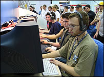 Gamers playing the Cyber Games Tournament
