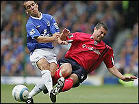 Everton's Leon Osman clashes with West Brom's Paul Robinson in one of the 15 winning matches
