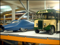 Models of the Bluebird and a bus (BBC)