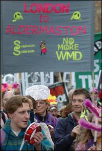 Aldermaston marchers with WMD banner