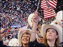 Republican delegates cheers Mr Bush's speech