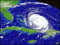 Satellite image of hurricane Frances