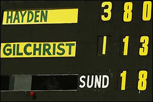 The scorecard shows Matthew Hayden's previous record breaking score of 380